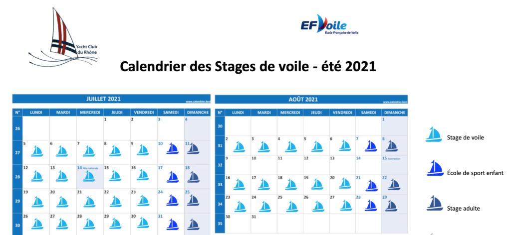 calendrier école de voile et stages été 2021