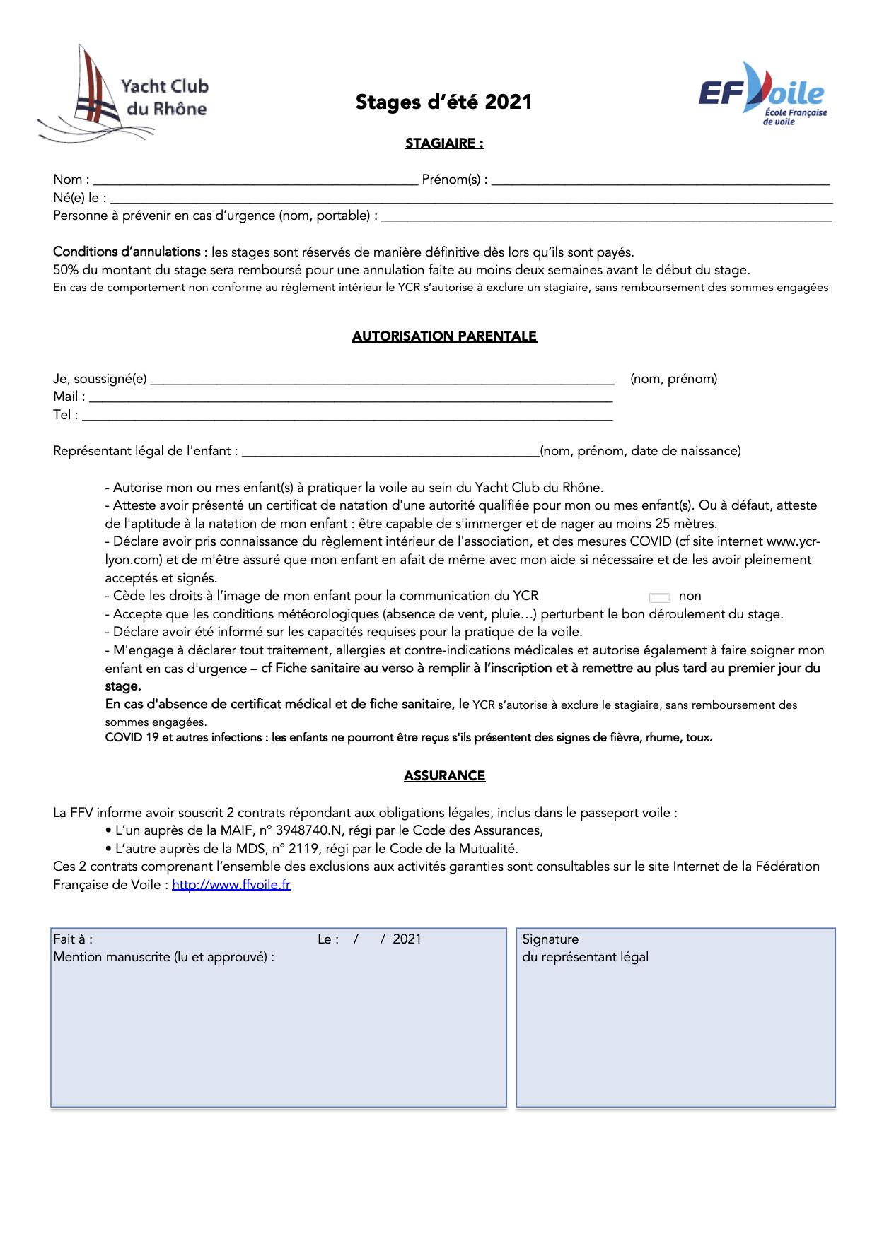 Autorisation parentale Stages d'été 2021 YCR